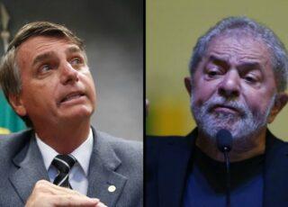 Montagem com foto de Jair Bolsonaro à esquerda, e Lula.